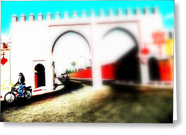 Scootering Through A Medina Gate  Greeting Card by Funkpix Photo Hunter