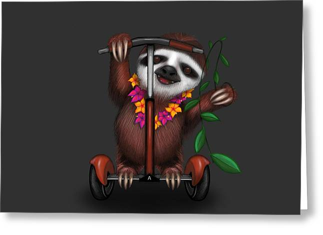 Scootin' Sloth Greeting Card