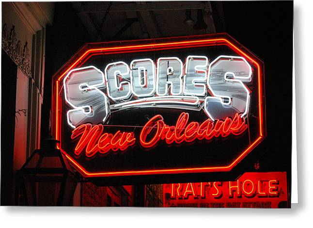 Scores Neon  Greeting Card by Armand Hebert