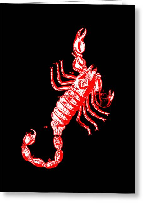 Scorpio Zodiac Sign Vintage Tee Red Greeting Card by Edward Fielding