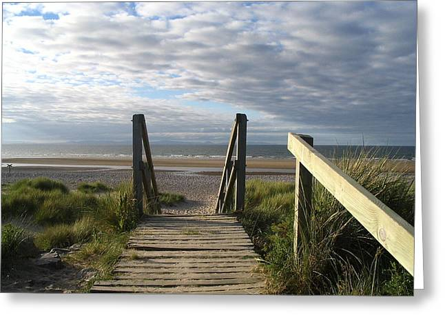 Scotland Findhorn Boardwalk Greeting Card by Yvonne Ayoub