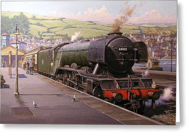 Scotsman At Kingswear Greeting Card by Mike  Jeffries