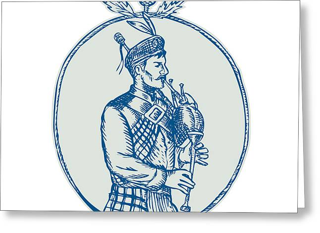 Scotsman Bagpiper Playing Bagpipes Etching Greeting Card