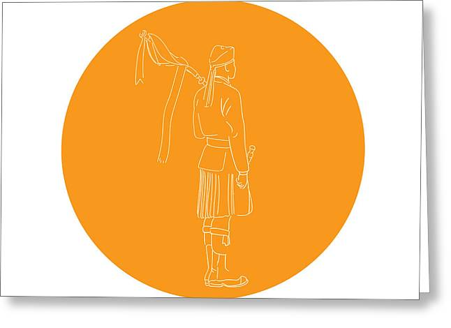 Scotsman Soldier Bagpiper Circle Drawing Greeting Card
