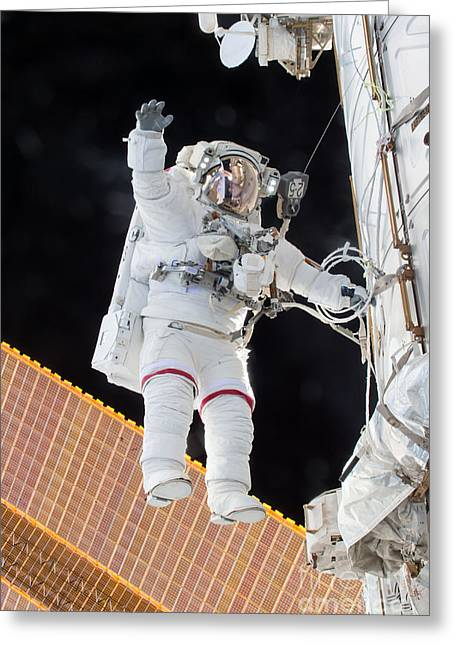 Scott Kelly, Expedition 46 Spacewalk Greeting Card by Science Source