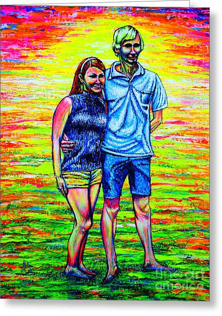 Scott Ross And Wife Greeting Card by Viktor Lazarev
