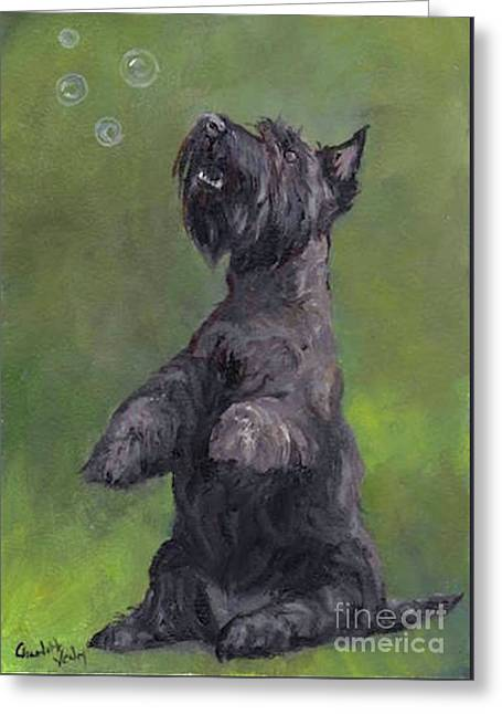 Scottie Likes Bubbles Greeting Card by Charlotte Yealey