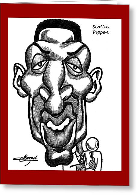 Scottie Pipen Greeting Card by Miguel Romani