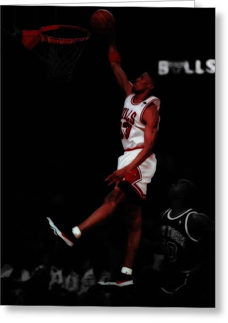 Scottie Pippen Above The Rim Greeting Card by Brian Reaves