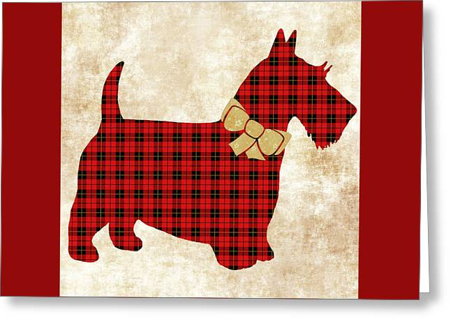 Greeting Card featuring the mixed media Scottie Dog Plaid by Christina Rollo