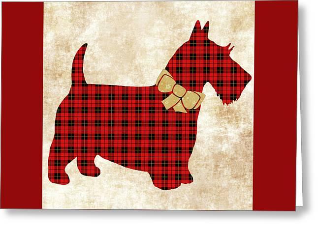 Scottie Dog Plaid Greeting Card