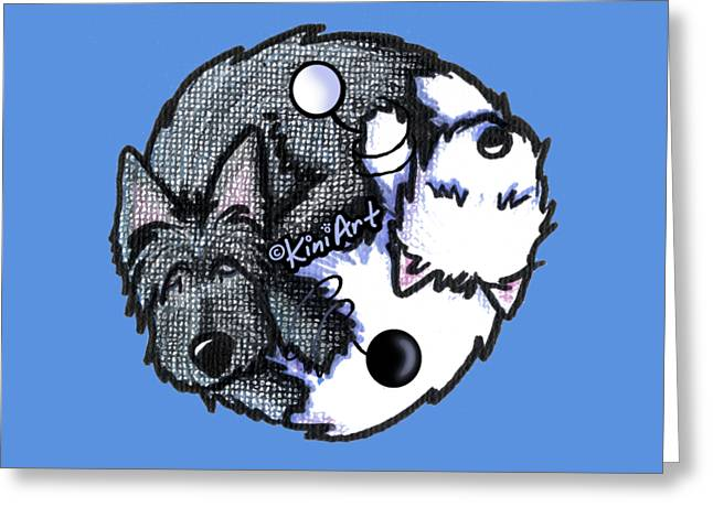 Scottie Westie Yin Yang Greeting Card
