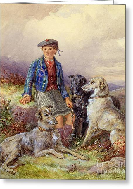 Scottish Boy With Wolfhounds In A Highland Landscape Greeting Card