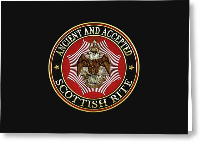 Scottish Rite Double-headed Eagle On Black Leather Greeting Card
