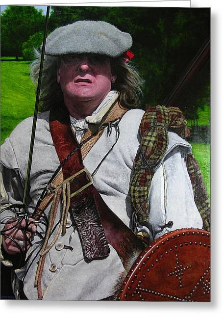 Scottish Soldier Of The Sealed Knot At The Ruthin Seige Re-enactment Greeting Card by Harry Robertson