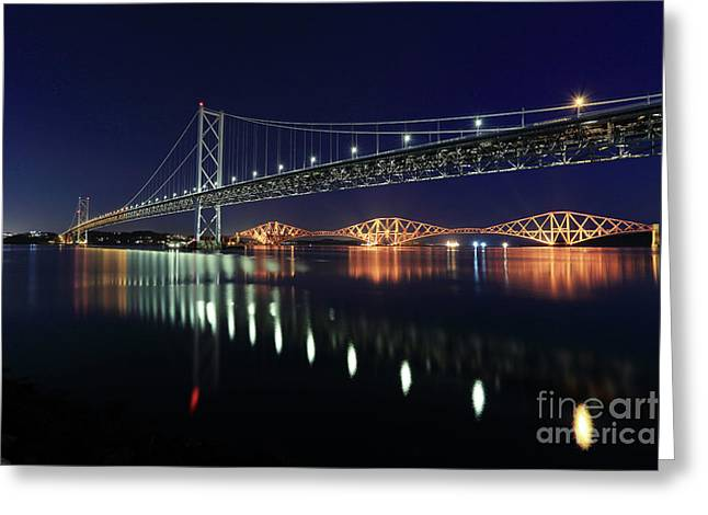 Scottish Steel In Silver And Gold Lights Across The Firth Of Forth At Night Greeting Card