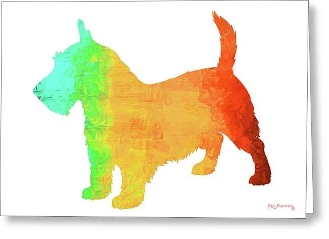 Scottish Terrier Dog Art Greeting Card by Ken Figurski