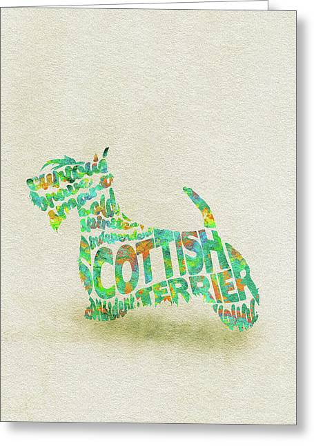 Greeting Card featuring the painting Scottish Terrier Dog Watercolor Painting / Typographic Art by Ayse and Deniz