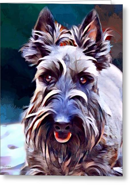 Scottish Terrier Painting Greeting Card by Scott Wallace