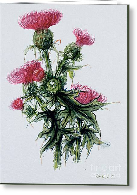 Scottish Thistle Greeting Card by Nell Hill