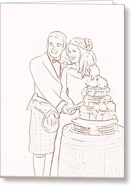 Greeting Card featuring the drawing Scottish Wedding by Olimpia - Hinamatsuri Barbu