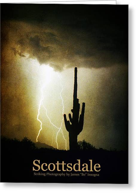 Scottsdale Arizona Fine Art Lightning Photography Poster Greeting Card by James BO  Insogna