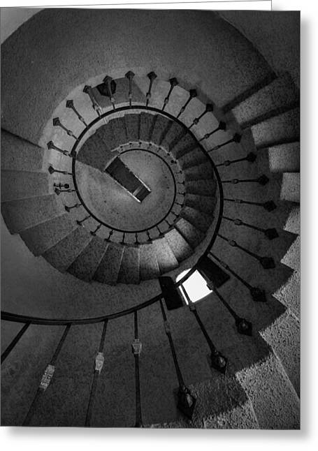 Scottys Castle Stairwell B W Greeting Card