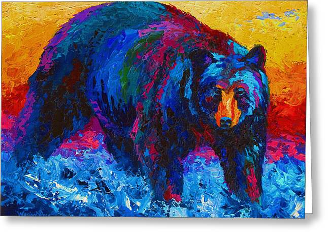 Hunting Paintings Greeting Cards - Scouting For Fish - Black Bear Greeting Card by Marion Rose