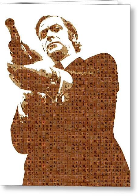 Scrabble Get Carter Greeting Card by Gary Hogben
