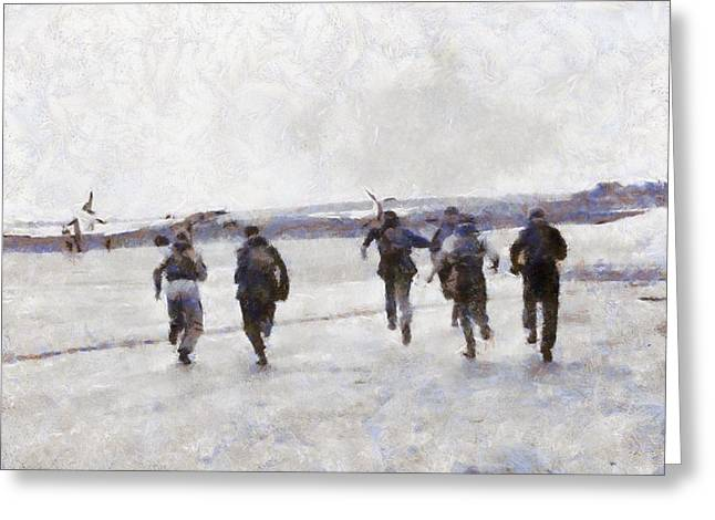 Scramble The Battle Of Britain 1940 Pilots Seen Running To Their Aircraft. Greeting Card