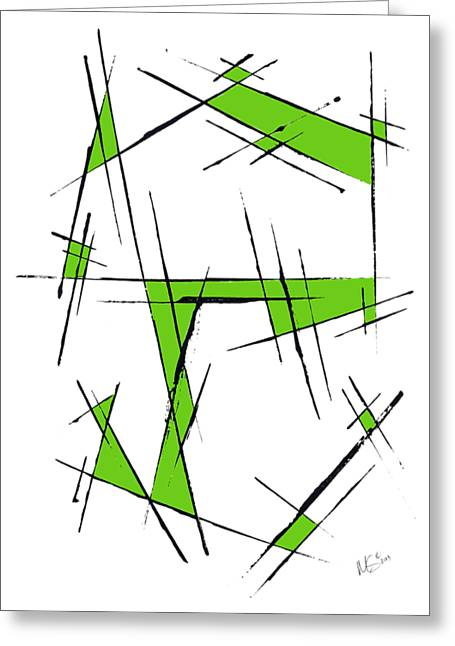 Scratched With Green Greeting Card by Melissa Smith