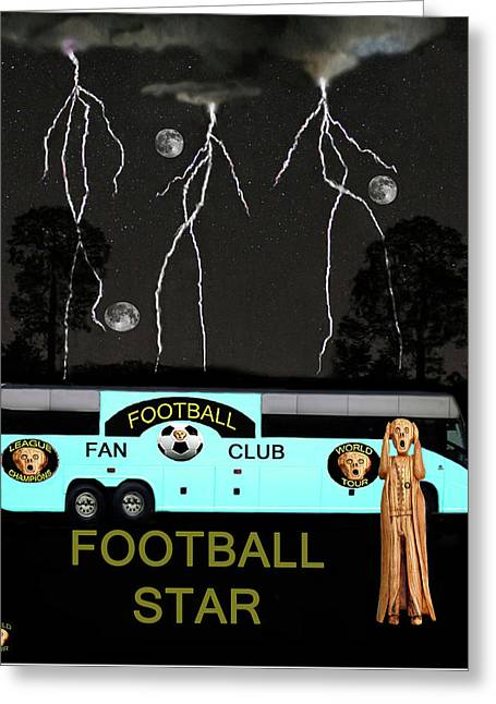 Scream Football Star Greeting Card by Eric Kempson