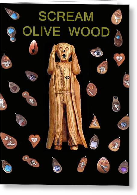 Scream Olive Wood Greeting Card by Eric Kempson