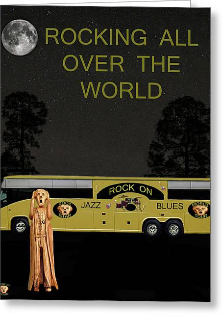Tour Bus Mixed Media Greeting Cards - Scream Rock N Roll Tour Greeting Card by Eric Kempson