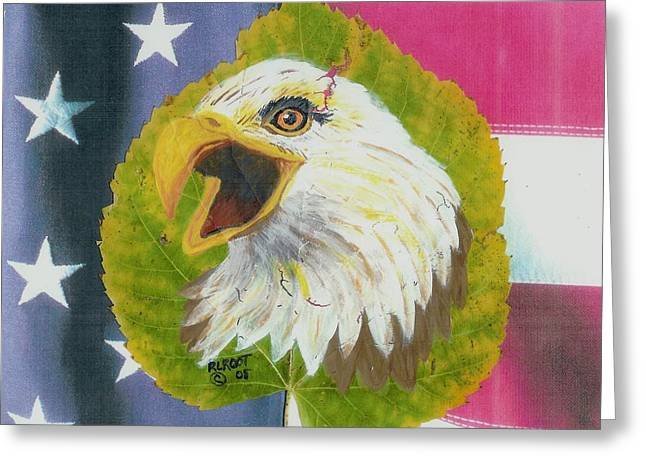 Screaming Eagle With U.s. Flag #2 Greeting Card