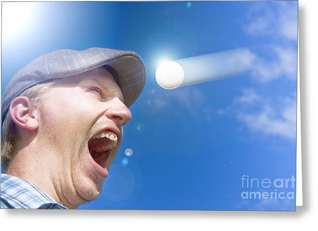 Screaming Golfer Greeting Card by Jorgo Photography - Wall Art Gallery