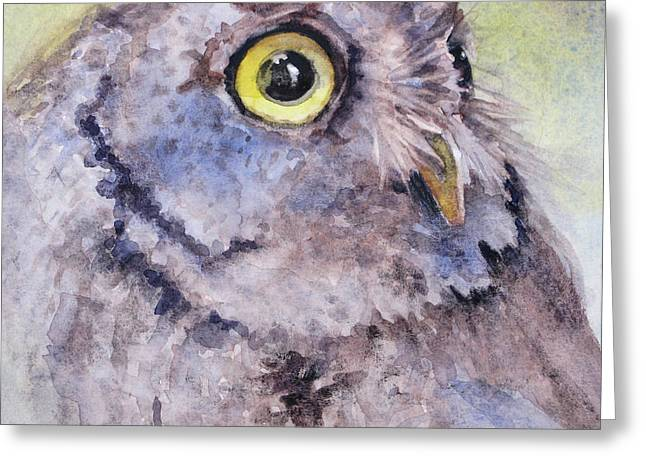 Greeting Card featuring the painting Screech Owl by Bonnie Rinier