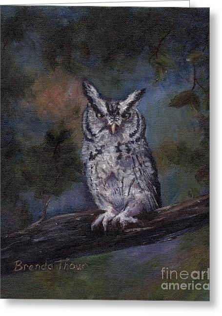 Greeting Card featuring the painting Screech Owl by Brenda Thour