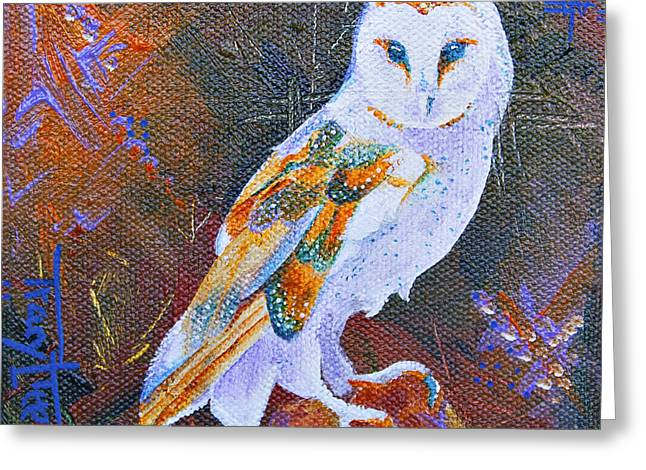 Screechy Greeting Card by Tracy L Teeter