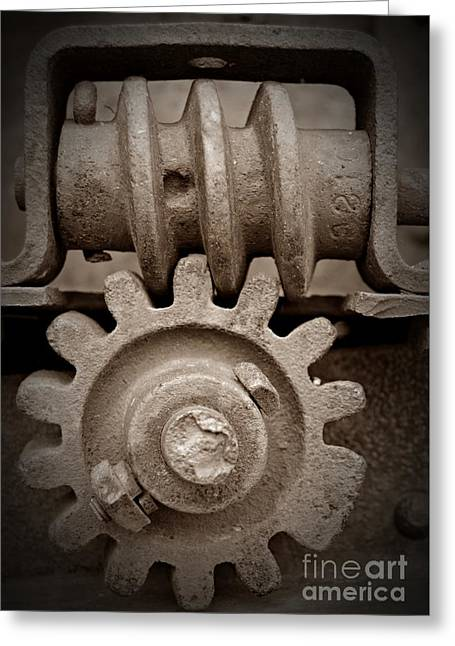 Screw And Gear Sepia Greeting Card