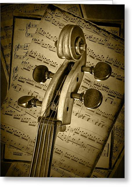 Scroll Of A Cello Stringed Instrument In Sepia Greeting Card by Randall Nyhof