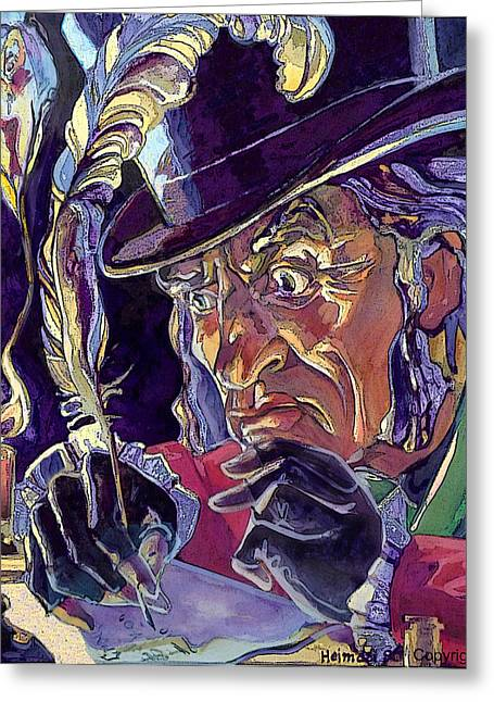 Greeting Card featuring the painting Scrooge And Marley's Ghost by Tim  Heimdal