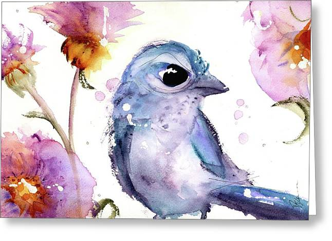 Greeting Card featuring the painting Scrub Jay In The Wildflowers by Dawn Derman