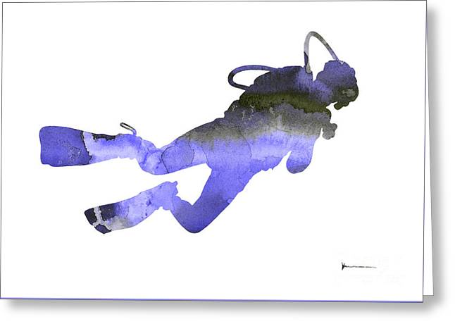 Scuba Diver Watercolor Silhouette Greeting Card by Joanna Szmerdt