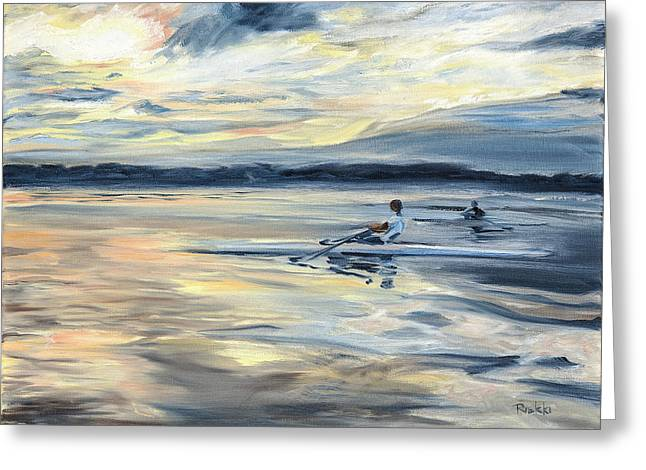 Scullers At Dusk On Lake Mary Jane Greeting Card