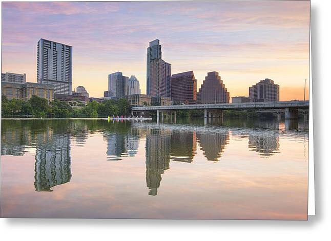 Sculling On Lady Bird Lake In Austin Texas 1 Greeting Card