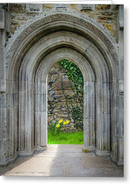 Greeting Card featuring the photograph Sculpted Portal To Irish Spring Garden by James Truett
