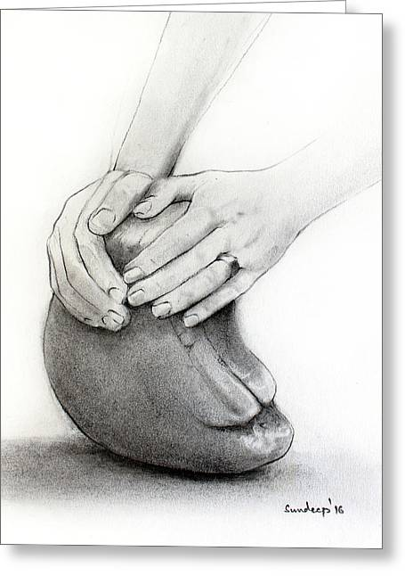 Sculptor's Hands Greeting Card by Sundeep
