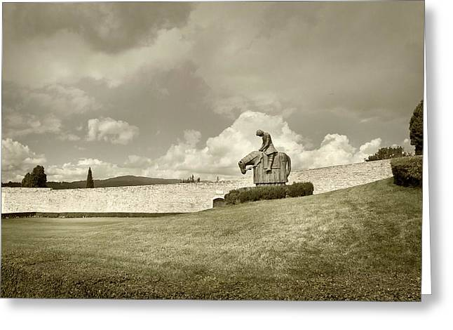 Greeting Card featuring the photograph Sculpture - Assisi by John Hix