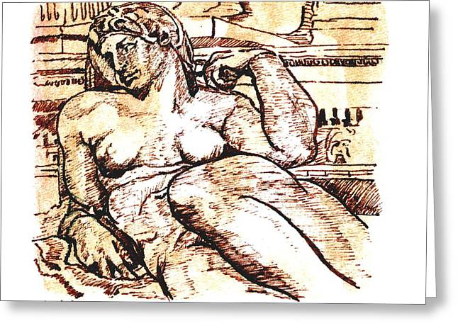 Michelangelo Pastels Greeting Cards - Sculpture at the Medici Chapel Greeting Card by Dan Earle